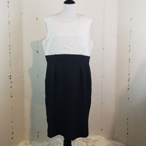 Tahari sz 16 blk/white dress with pearl accents
